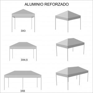 foto esquema medidas carpa plegable de aluminio reforzado
