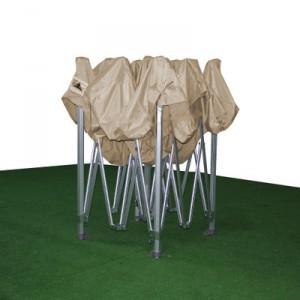 Foto de carpa plegable 3x3 beige plegada y sin laterales
